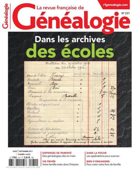 La Revue Française De Généalogie N.231 — Aout-Septembre 2017