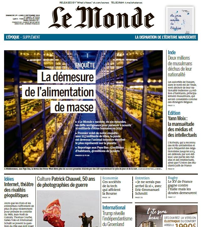 Le Monde – 01.09.2019 – 02.09.2019