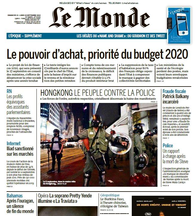 Le Monde – 15.09.2019