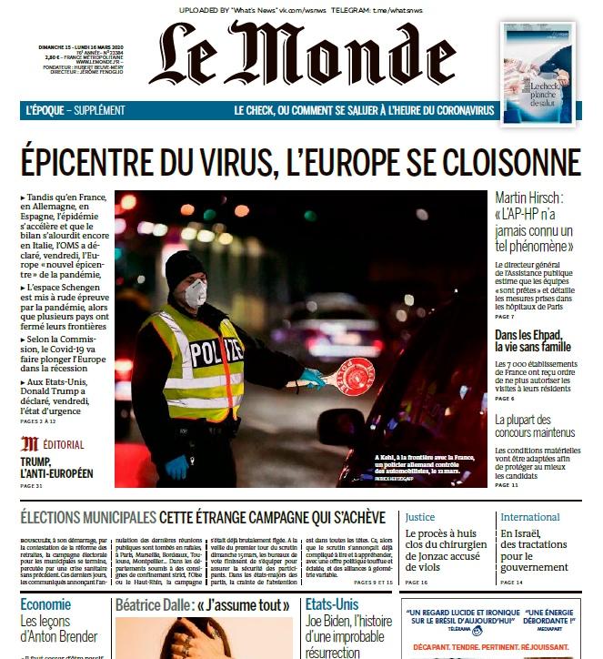 Le Monde – 15.03.2020 – 16.03.2020