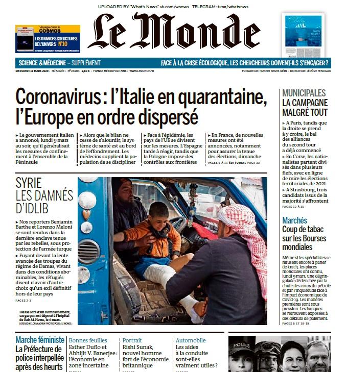 Le Monde – 11.03.2020