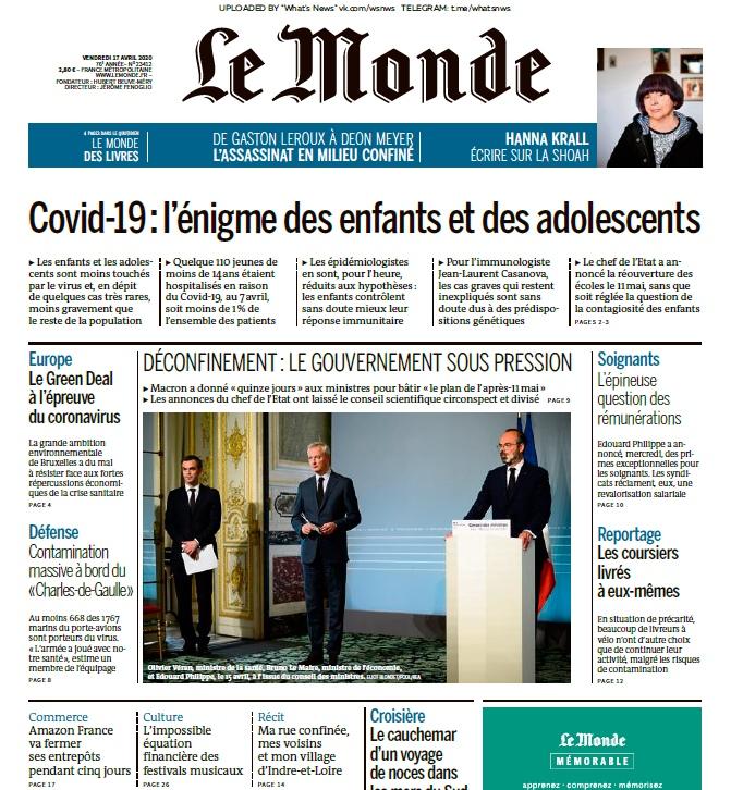 Le Monde – 17.04.2020