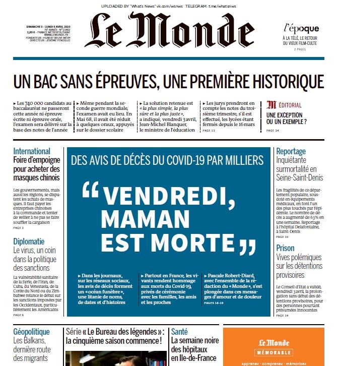 Le Monde – 05.04.2020
