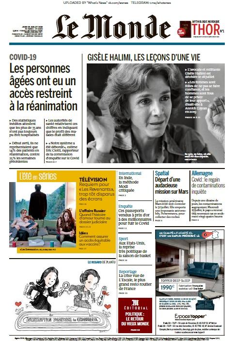 Le Monde – 30.07.2020