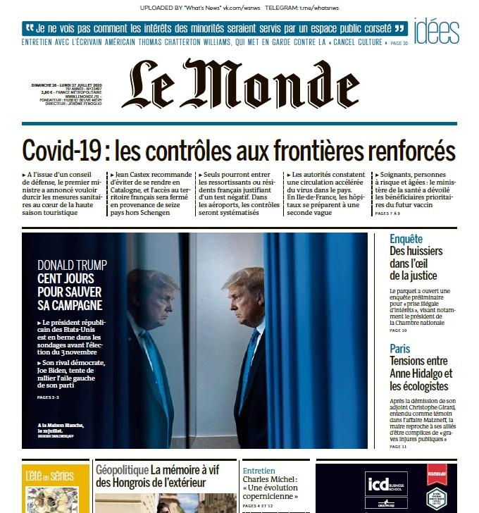 Le Monde – 26.07.2020 – 27.07.2020
