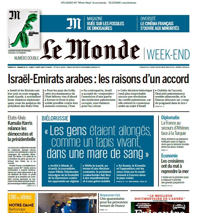 Le Monde – 15.08.2020 – 17.08.2020